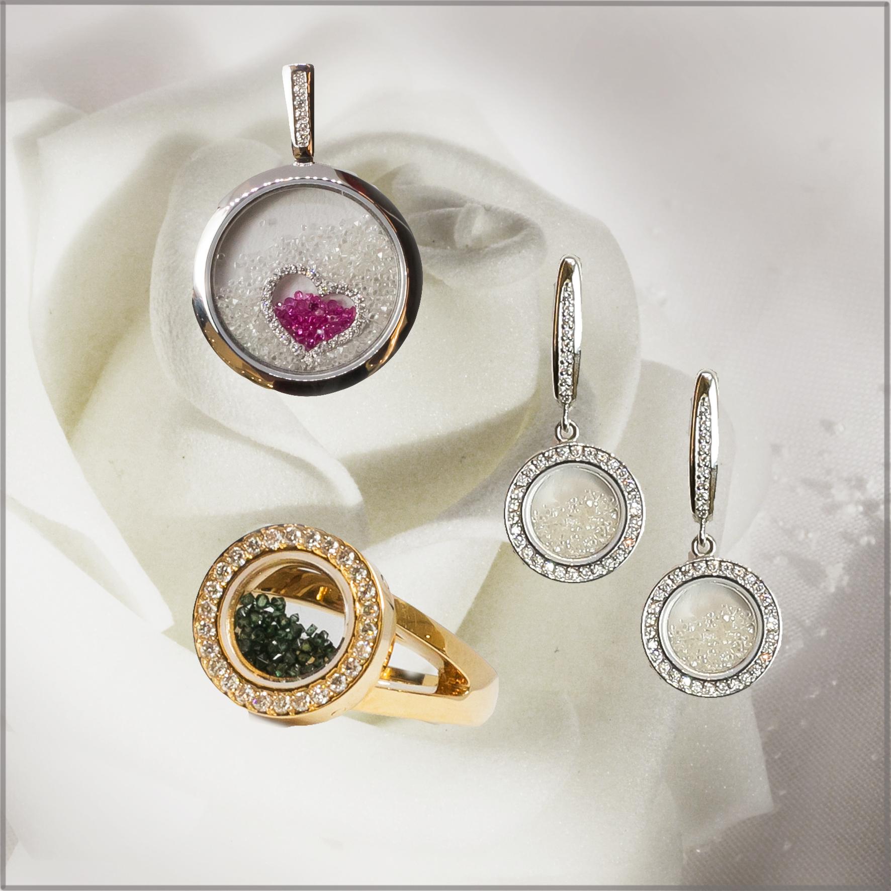 Коллекция с необработанными алмазами